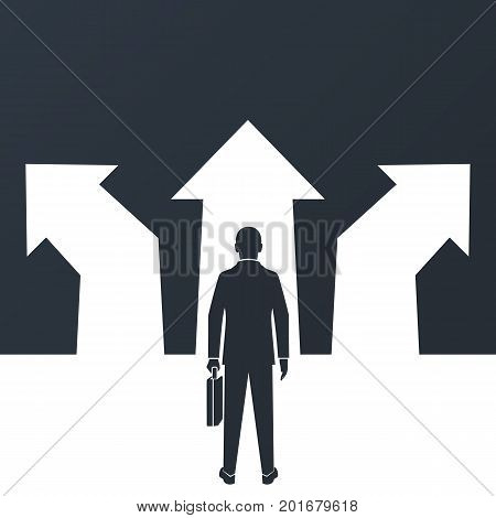 Choice way concept. Decision business metaphor. Vector flat design. Isolated on background. Businessman silhouette before choosing. Crossroads arrows. Decide direction. Human standing choice of ways.