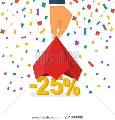 25 discount. Discounts opening concept. Man hold hand red silk cloth, opening 25 percent. Colorful falling confetti isolated on white background. Vector illustration flat design. Big sale best offer