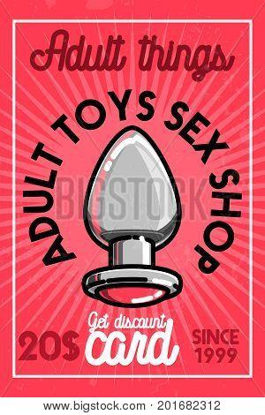 Color vintage sex shop banner. Vector illustration, EPS 10