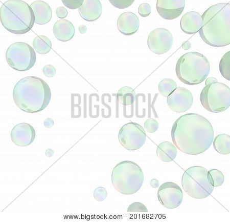 3D green soap bubbles over white background. 3D rendering.
