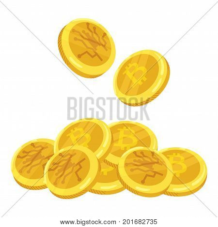 Golden bitcoin digital currency. A stack of coins bitcoin. Gold stack of bitcoins cryptocurrency coins. Mining.