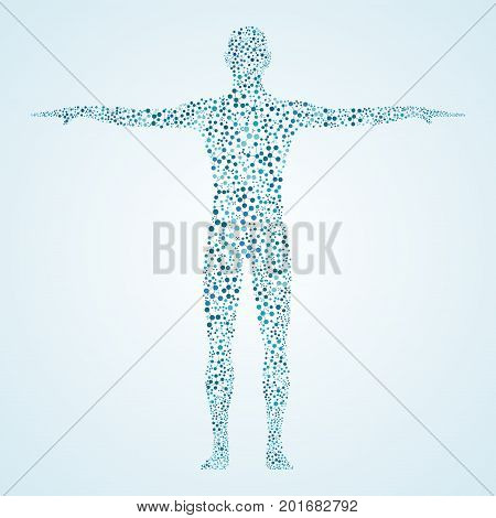 Human body with molecules DNA. Medicine science and technology concept. Illustration.
