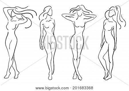 A set of female figures. Collection of outlines of young girls. Stylized slender body. Linear Art. Black and white vector illustration.