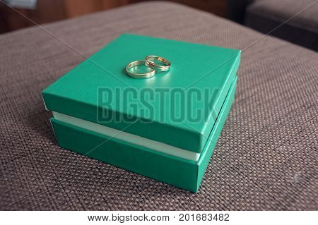 Wedding rings for a newly-married couple, lie on a light green box