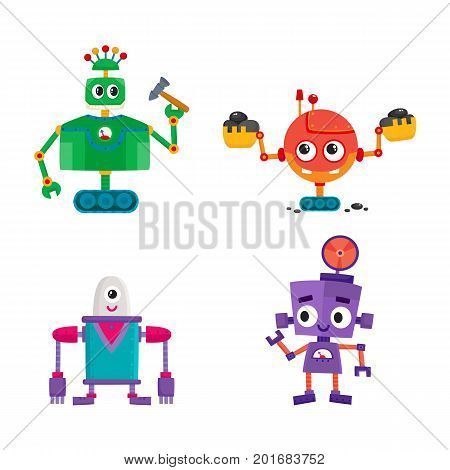 vector flat cartoon funny repairing robots set. Cute humanoid male characters with wrench, hummer ladle - arms and wheel, crawler track - legs smiling. Isolated illustration on a white background.