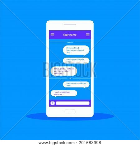 Vector application with chat boxes. Messenger. Message box