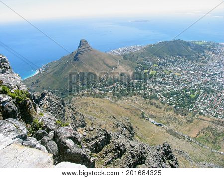 FROM CAPE TOWN, SOUTH AFRICA, VIEW OF LIONS HEAD AND SIGNAL HILL, FROM THE SUMMIT OF TABLE MOUNTAIN