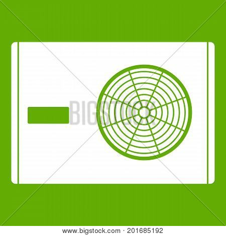 Outdoor compressor of air conditioner icon white isolated on green background. Vector illustration