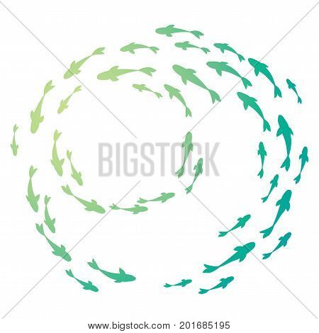 Colored silhouettes school of fish. A group of silhouette fish swim in a circle. Marine life. Vector illustration.