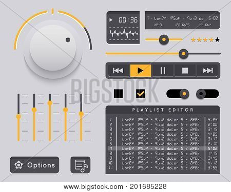 Vector media player. Audio player application, app with glossy style for smartphones, PC or tablets. Set buttons and switches. Mock-up player.
