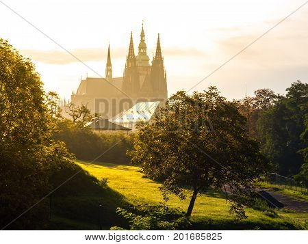 Silhoutte of St. Vitus Cathedral in sunny morning haze, Hradcany, Prague, Czech Republic.