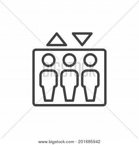 Elevator line icon, outline vector sign, linear style pictogram isolated on white. Symbol, logo illustration. Editable stroke. Pixel perfect vector graphics