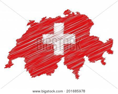 Swiss flag map icon hand drawn scribble effect EPS10 vector illustration isolated on white background.