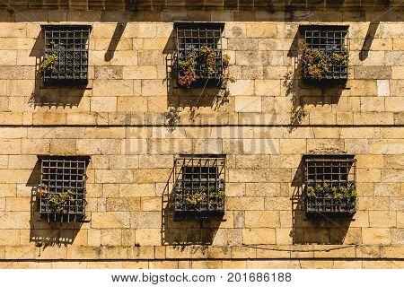 Ancient facade in the city centre of Santiago de Compostela Spain