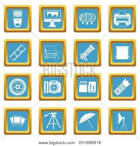 Photo studio icons set in azur color isolated vector illustration for web and any design