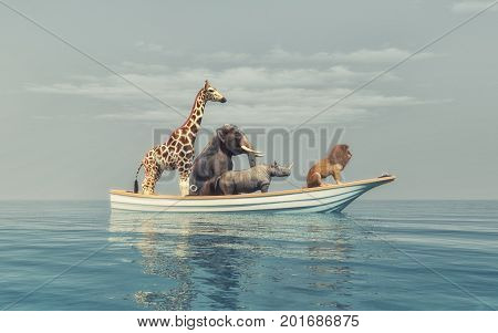 Wild animals - lion rhino elephant giraffe sitting in a boat by sea. This is a 3d render illustration