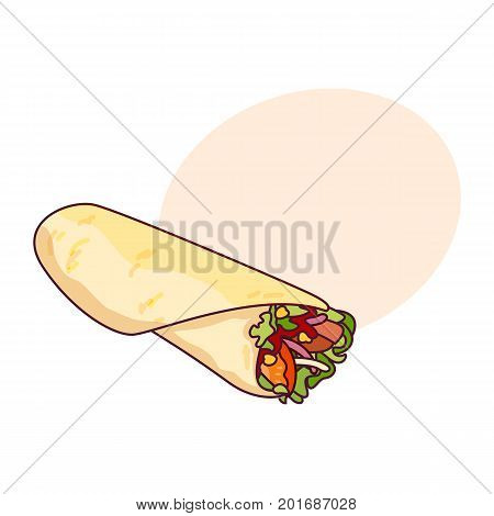 Vector chicken, vegetables roll, fast food meal. Doner gebab, shawarma flat cartoon illustration isolated on a white background with speech bubble