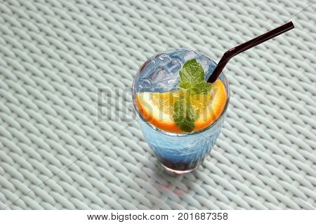 Blue Curacao Cocktail With Lemon And Mint