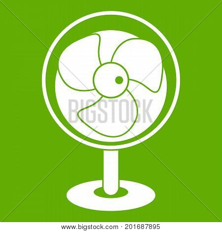 Vintage electric fan icon white isolated on green background. Vector illustration