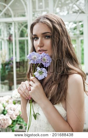 Romantic Portrait of Magnificent Woman with Blue Flowers in Blossom Garden Outdoors