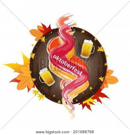 Banner for Octoberfest with color splash, autumn leaves, wooden barrel and mug of beer. Vector illustration