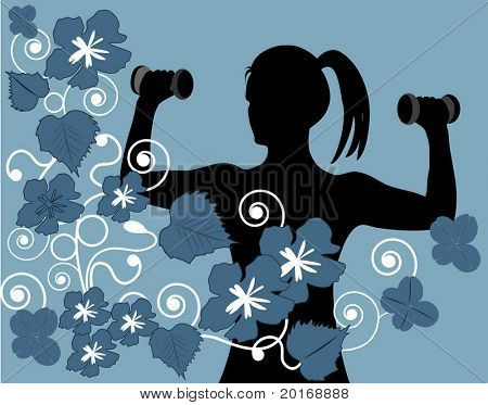 silhouette of female working out with flower frame