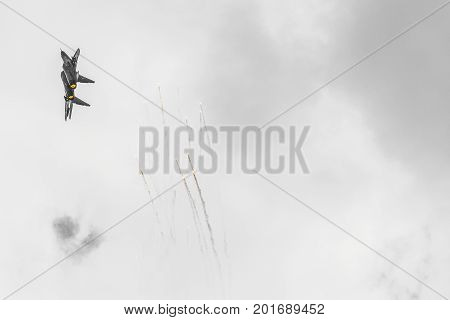 Radom, Poland - August 26:  Polish F-16 Makes Its Show During Air Show Radom 2017 On August 26, 2017