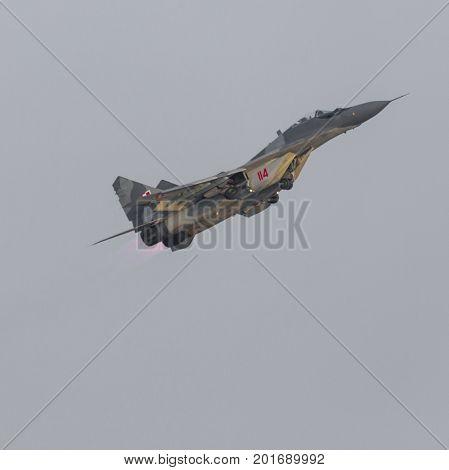 Radom, Poland - August 26:  Polish Air Force, Mig 29 Fulcrum And Extra 330 During Air Show Radom 201