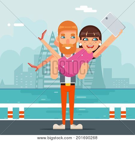 Happiness Selfie Photo Portrait Cute Young Girl Woman Man Together Couple Geek Hipster Smartphone Casual Character Lifestyle Icon Cartoon Flat Design City Background Vector illustration