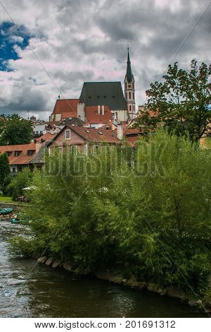 Beautiful view of Cesky Krumlov medieval village on the river Vltava