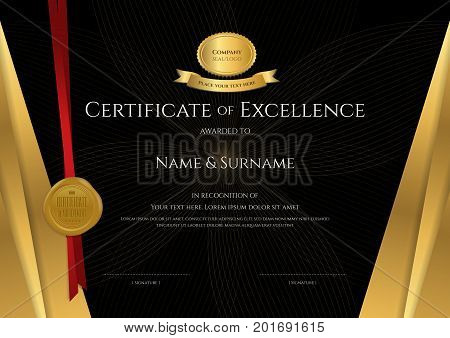 Luxury certificate template with elegant black and golden border frame Diploma design for graduation or completion