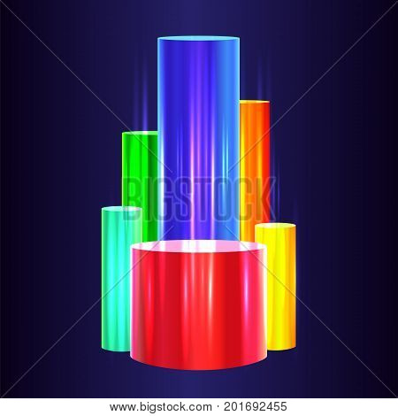 Colorful chart design. Bright 3d diagram visualization. Glossy Color cylinders chart on dark background. Financial data visualisation concept. Vector illustration