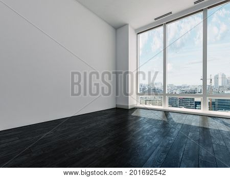 Unfurnished empty white room with view over city through large floor to ceiling windows in a corner view with a dar wood floor. 3d Rendering.