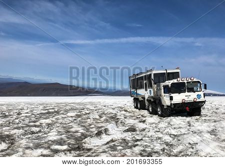 Husafell Iceland August 22 2017: Specialty vehicle for driving on the snow stands on the surface of Langjokull glacier. This is a part of