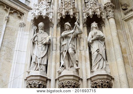 Statues at the front entrance of the Cathedral of the Assumption of the Blessed Virgin Mary Zagreb Croatia
