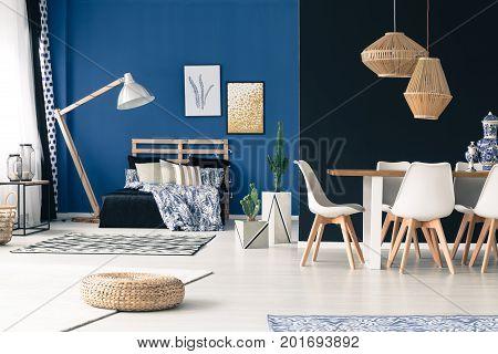Apartment With Deep Cyan Walls