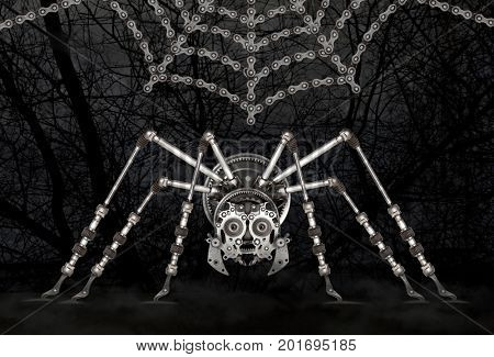 Steampunk style futuristic spider. Mechanical photo compilation