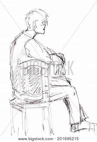 Instant sketch man sitting on the chair