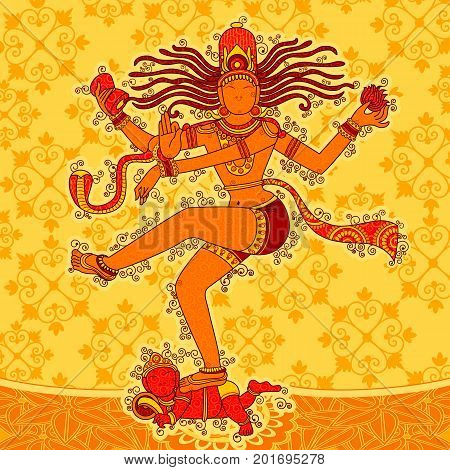Vector design of Vintage statue of Indian Lord Shiva Nataraja in India art style