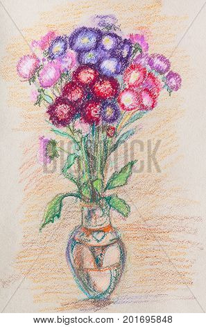 bouquet of bright flowers in glass vase