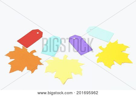Colorful Tag And Maple Leaves Isolated On White, Copy Space