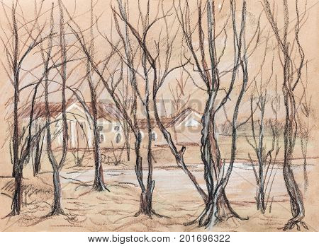 Buildings in the park, tress without leaves