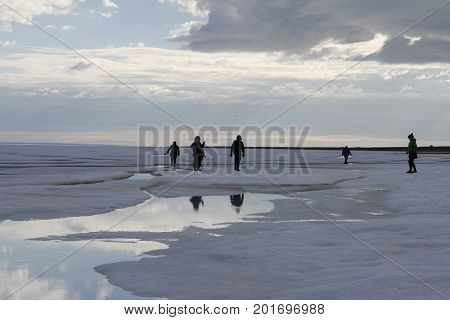 Playing around the ice in late June in the high arctic near Cambridge Bay, Nunavut