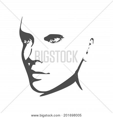 Face half turn view. Elegant silhouette of a female head. Vector Illustration. Monochrome gamma.