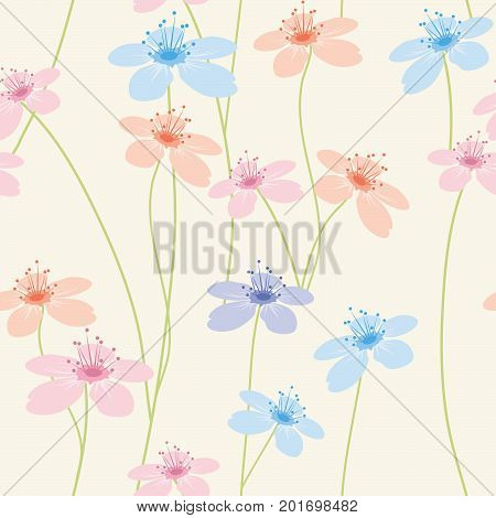 vector abstract seamless  pattern with colorful flowers