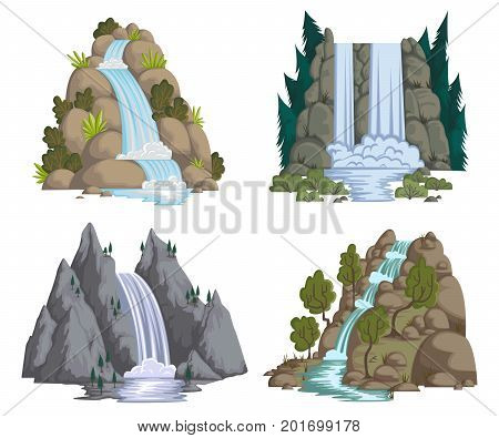 Waterfalls set. Cartoon landscapes with mountains and trees. Vector illustration