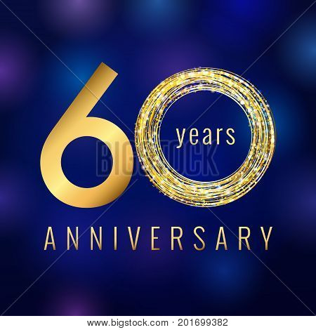 60 years old luxurious numbers. Congratulations 60th vector gold colored template sign with sparks, stars. Congratulating greetings celebrates. Celebrating traditional gold colored sixty % template.