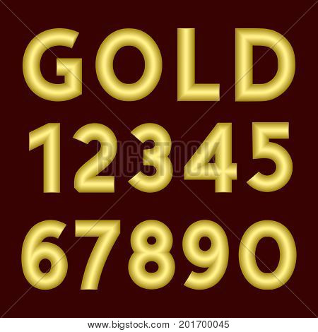A complete set of numbers made from gold thick wire with a matte surface. Font is isolated by a velvety dark crimson background. Numbers are made in 3D shapes with smooth edges. Vector illustration.