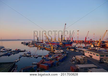 Port Terminal At Dawn
