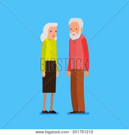 Elderly couple in flat style. Happy grandparents. Vector cartoon illustration. Grandparents day. Grandpa and grandma standing on blue background. Flat design, vector illustration.
